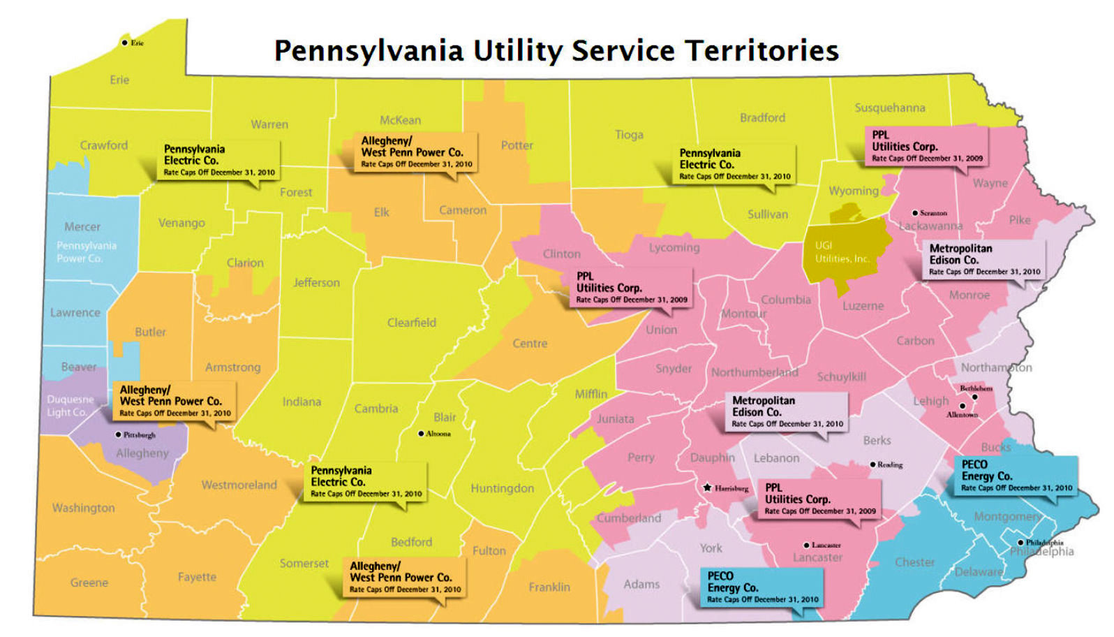 Pennsylvania Clean Energy Market Report - Map of utility service territories us